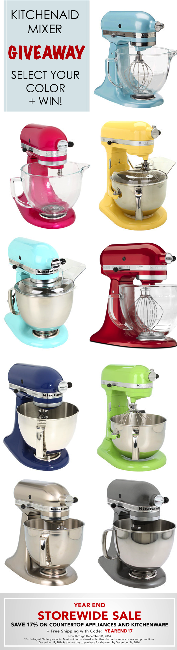 It\'s a Giveaway! KitchenAid Artisan Stand Mixers! Enter here: www ...