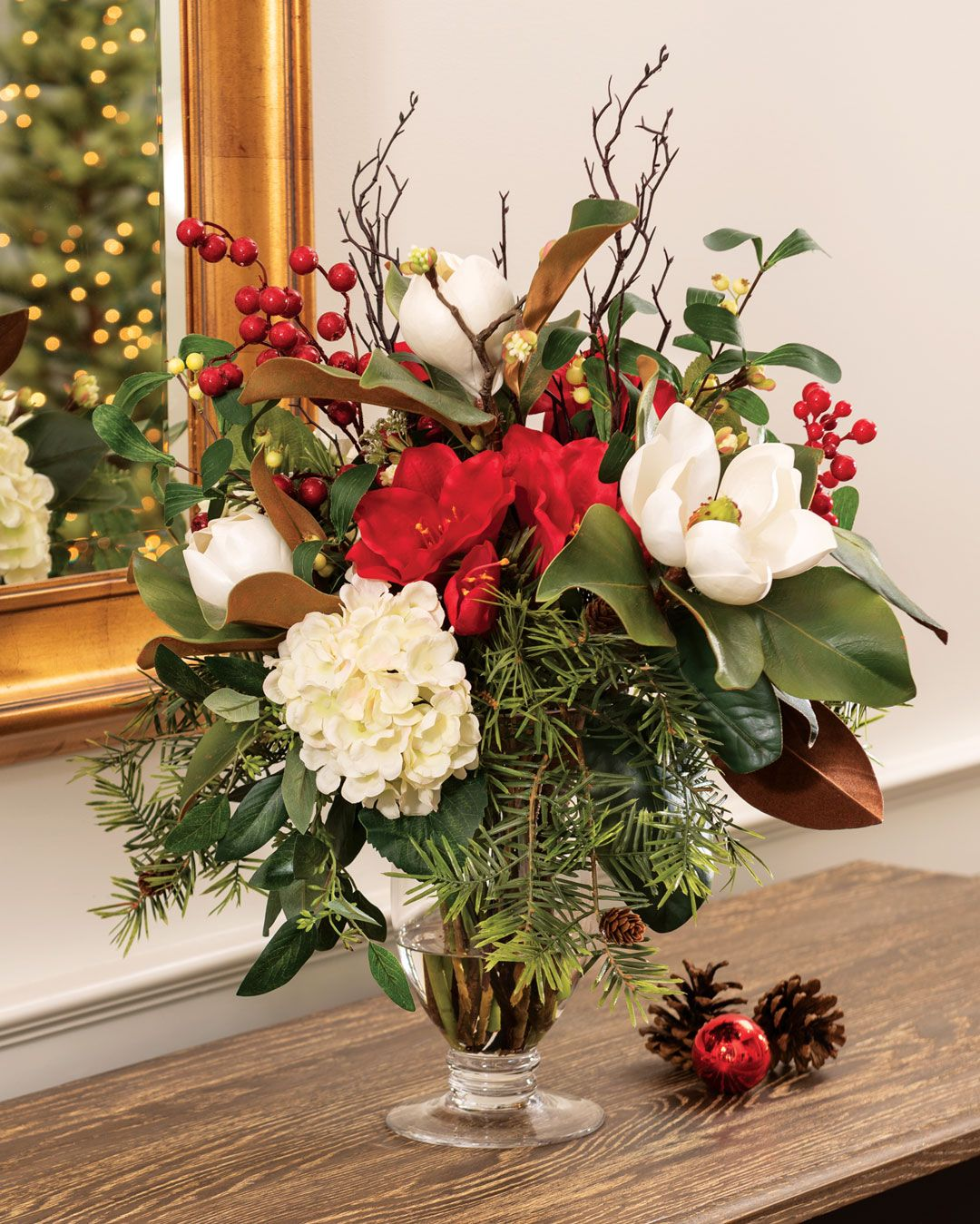 Magnolia Amaryllis Berriesartificial Holiday Centerpiece Christmas Floral Arrangements Christmas Flower Arrangements Holiday Centerpieces