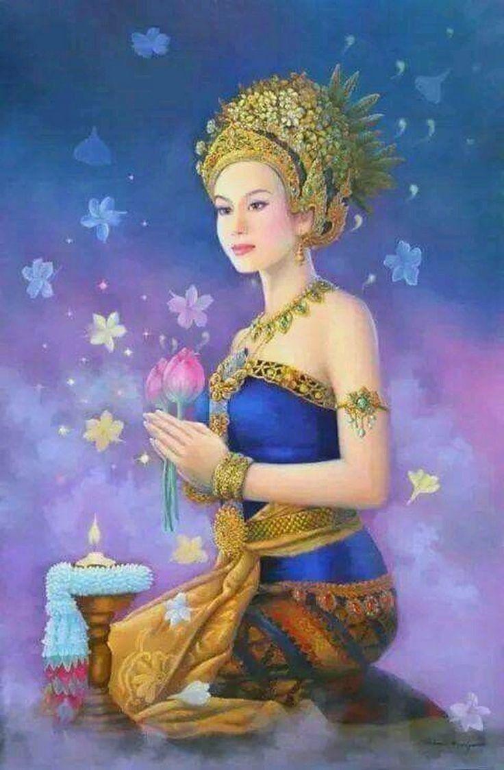 บุษบาเสี่ยงทาย🍉💕 (With images) Thai art