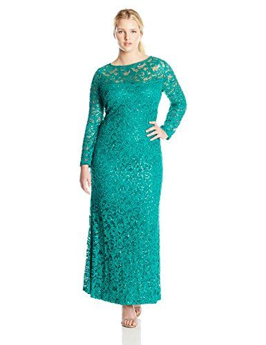 5d4f06680ad61 Marina Women s Plus-Size Long Lace Dress with Long Sleeve... https
