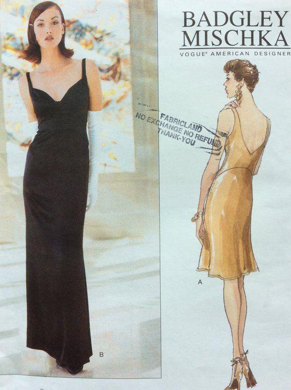 5a0071b9d22 Misses  Dress Pattern Evening Dress Pattern Badgley Mischka Vogue American  Designer 1806 Floor Lengt