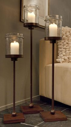Iron Floor Candle Holder With Hammered Jar Globe Height 29 Inches Base Width 7 8 Finish Color Bronze Materials Type