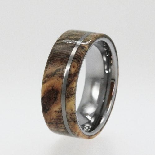 dinosaur bone meteorite and gold ring tungsten rings wood wedding ring with tungsten pinstripe - Wooden Wedding Rings For Men
