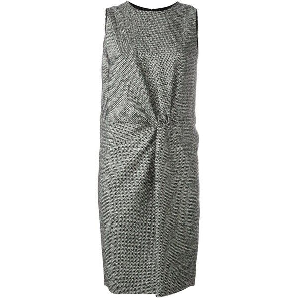 Maison Margiela Gathered Detail Tweed Dress (€1.045) ❤ liked on Polyvore featuring dresses, black, sleeveless ruched dress, maison margiela dress, maison margiela, no sleeve dress and tweed dress