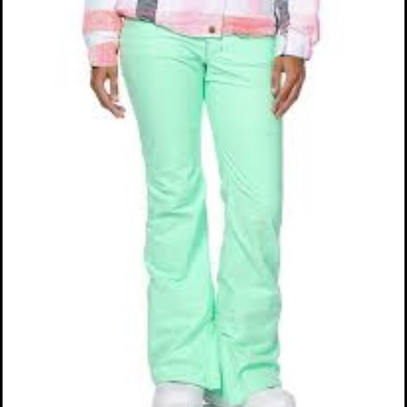 Neon Mint Snowboarding Pants Bright Mint. Zippers on bottom of pant leg. Waterproof. Aperture Pants