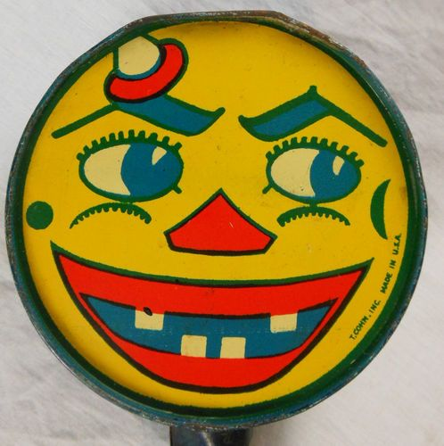 "Super 19th Cen Halloween Tin Jack 0 Lantern Pumpkin Noisemaker ""T Conn Inc NY"" 