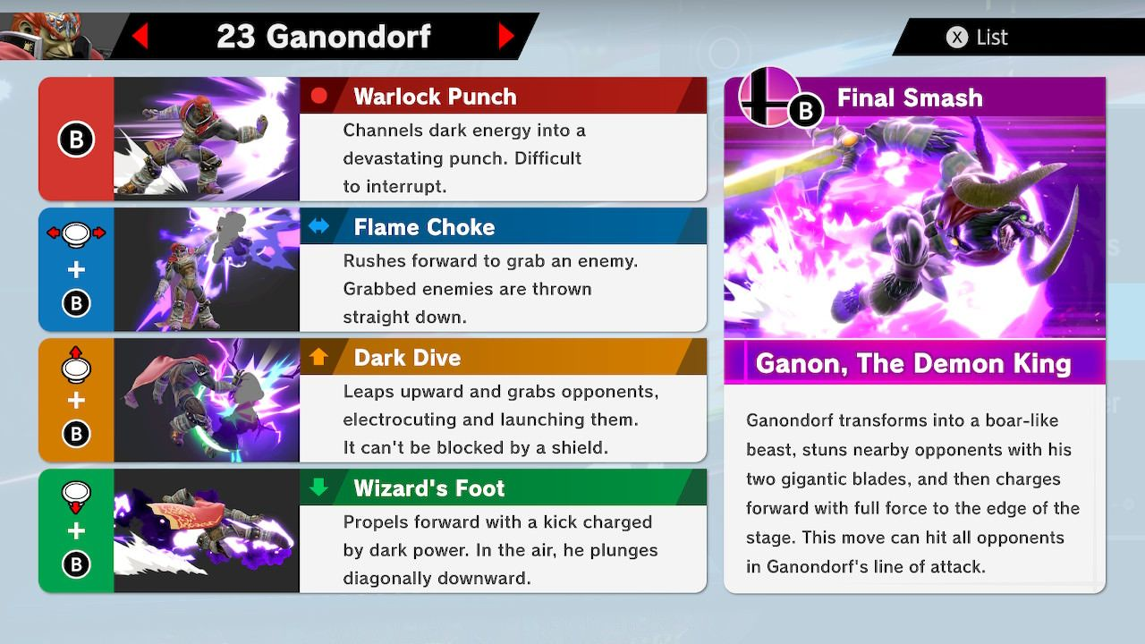 Super Smash Bros Ultimate Ganondorf Moves Final Smash