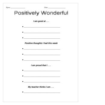 Self Esteem Positive Thinking Worksheets Building Self Esteem