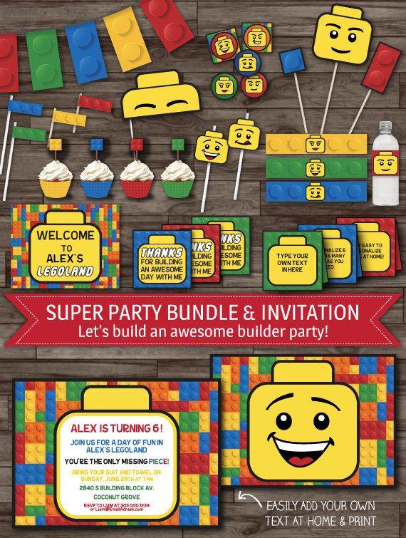 INSTANT DOWNLOAD Lego Inspired Party Decor Par LaBelleStudio