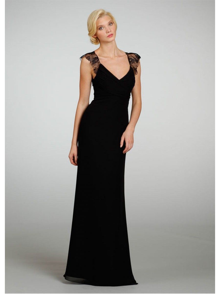 Elegant sheath v neck straps long black chiffon bridesmaid for Black and white dresses for wedding guests