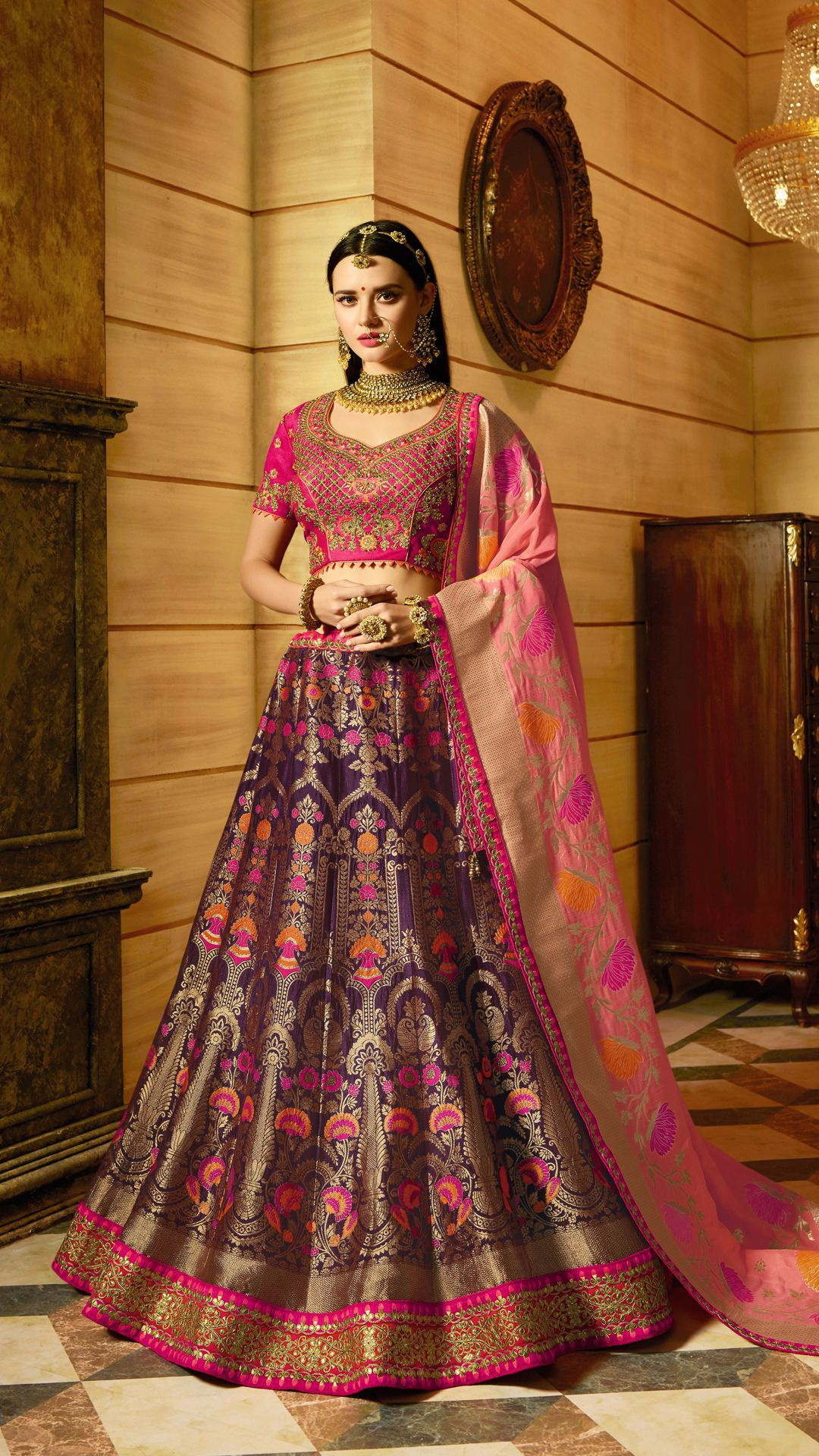 a2ab378e7a Be your own style icon with captivating purple fancy fabric designer lehenga  choli.