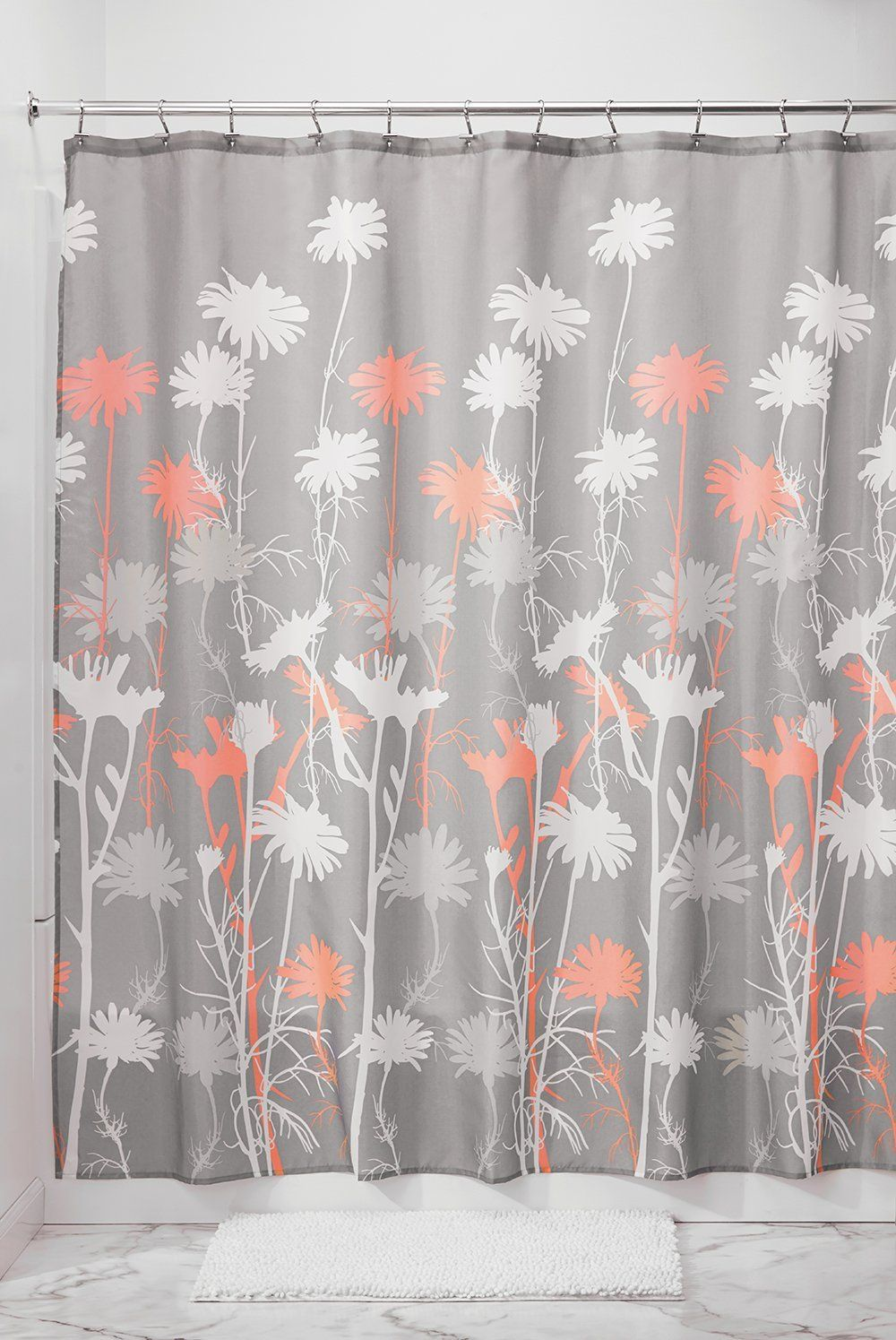 Amazon mdesign floral fabric shower curtain ombre microfiber