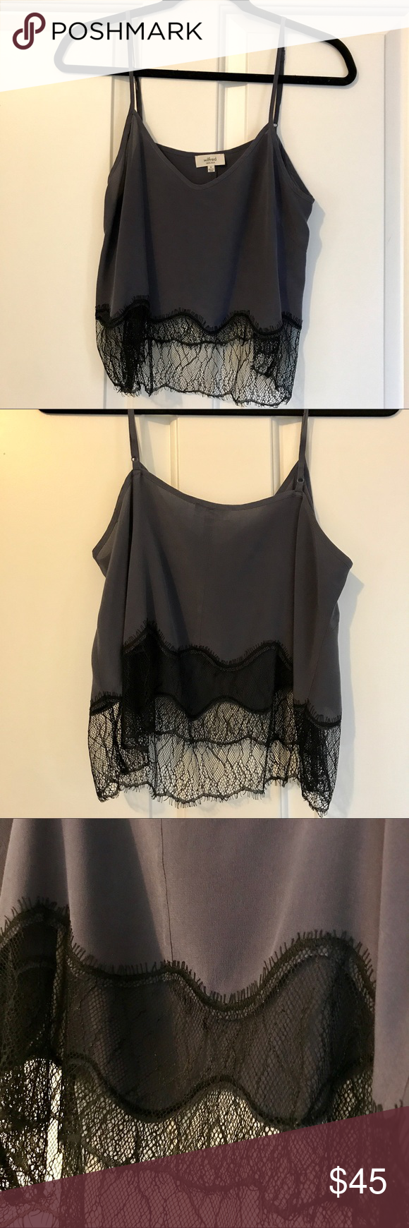 29735ec07f30e9 Aritzia Wilfred Silk Lace Crop Top Tank Made by Wilfred - this silk and lace  crop top is amazing! The top is a muted navy and the lace is black.