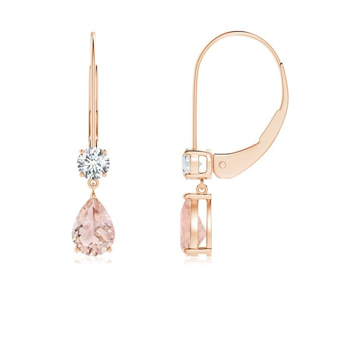 Angara Morganite Dangle Earrings with Pink Sapphire in Yellow Gold
