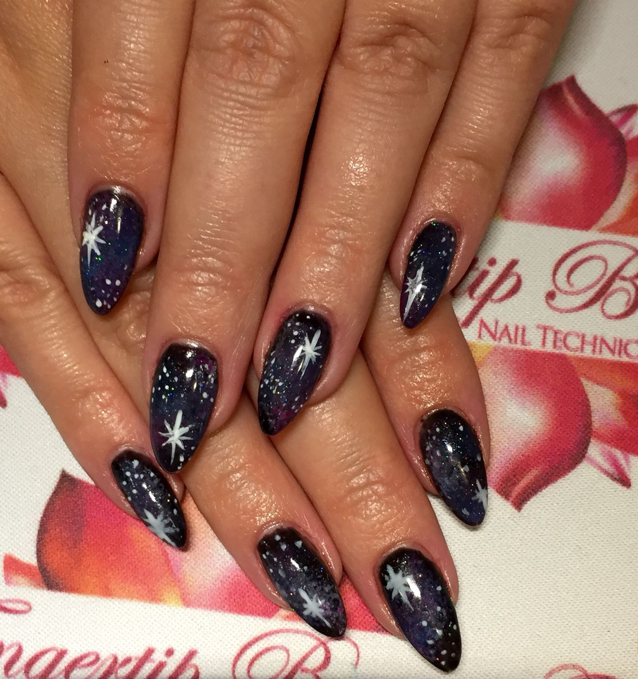 Galaxy Design Nails All Gelish Nails By Fingertip Beauty Pinterest
