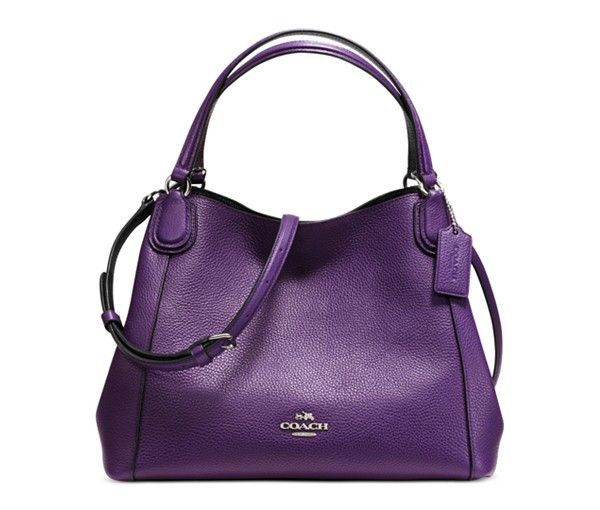3cfc3e15bfbe Coach Edie 28 Shoulder Bag In Polished Pebble Leather (Silver Violet ...