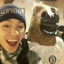 Dk Is Wearing The Horse Mask Xd Vernon Seventeen Seventeen Kpop Meme Faces