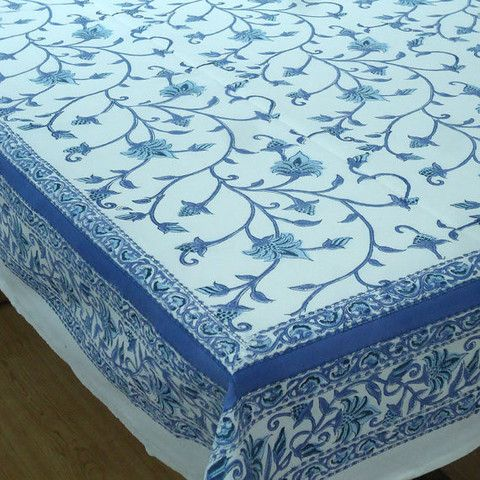 Block Printed By Hand Using Carved Wooden Blocks. 6 To 8 Seater, 150 X Made  In India.