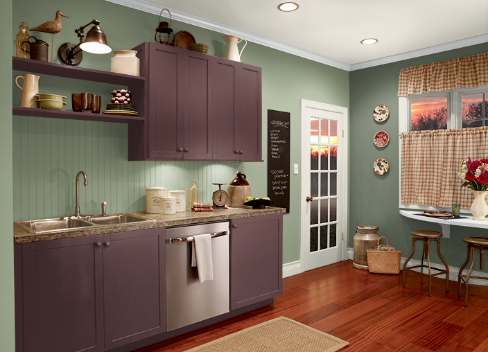 Behr plum raisin cabinets my personal palette for Behr paint for kitchen cabinets