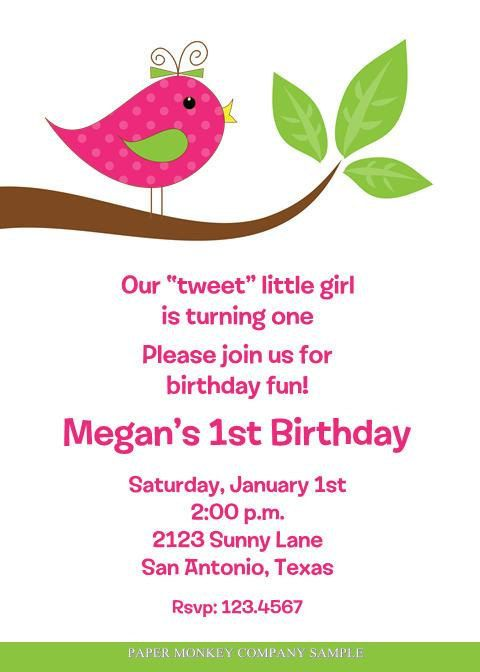 Cute Bird Birthday Invitations Birthdays