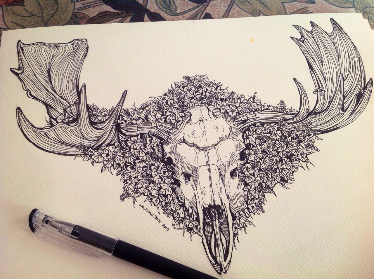 Moose Skull Commission In Progress For A Very Lovely Client Next Stop Is To Paint Moose Skull Skull Tattoo Design Animal Skull Tattoos