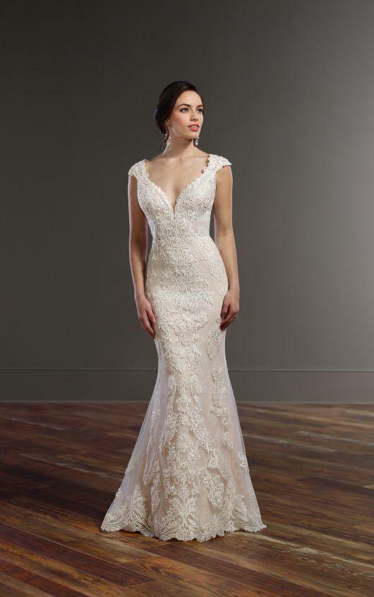 Cap Sleeve Wedding Dress with Cameo Back