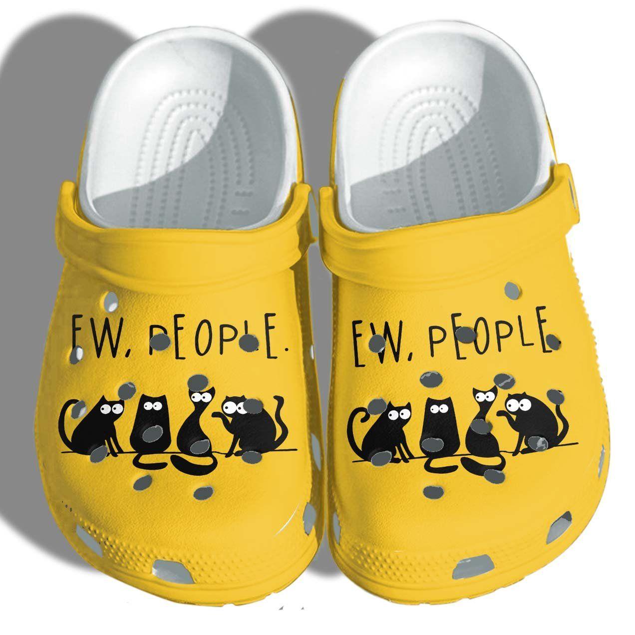 Photo of Ew People Black Cat Shoes Crocs Funny – Anime Cat Meme Croc Shoes Gifts Men Women – Yellow
