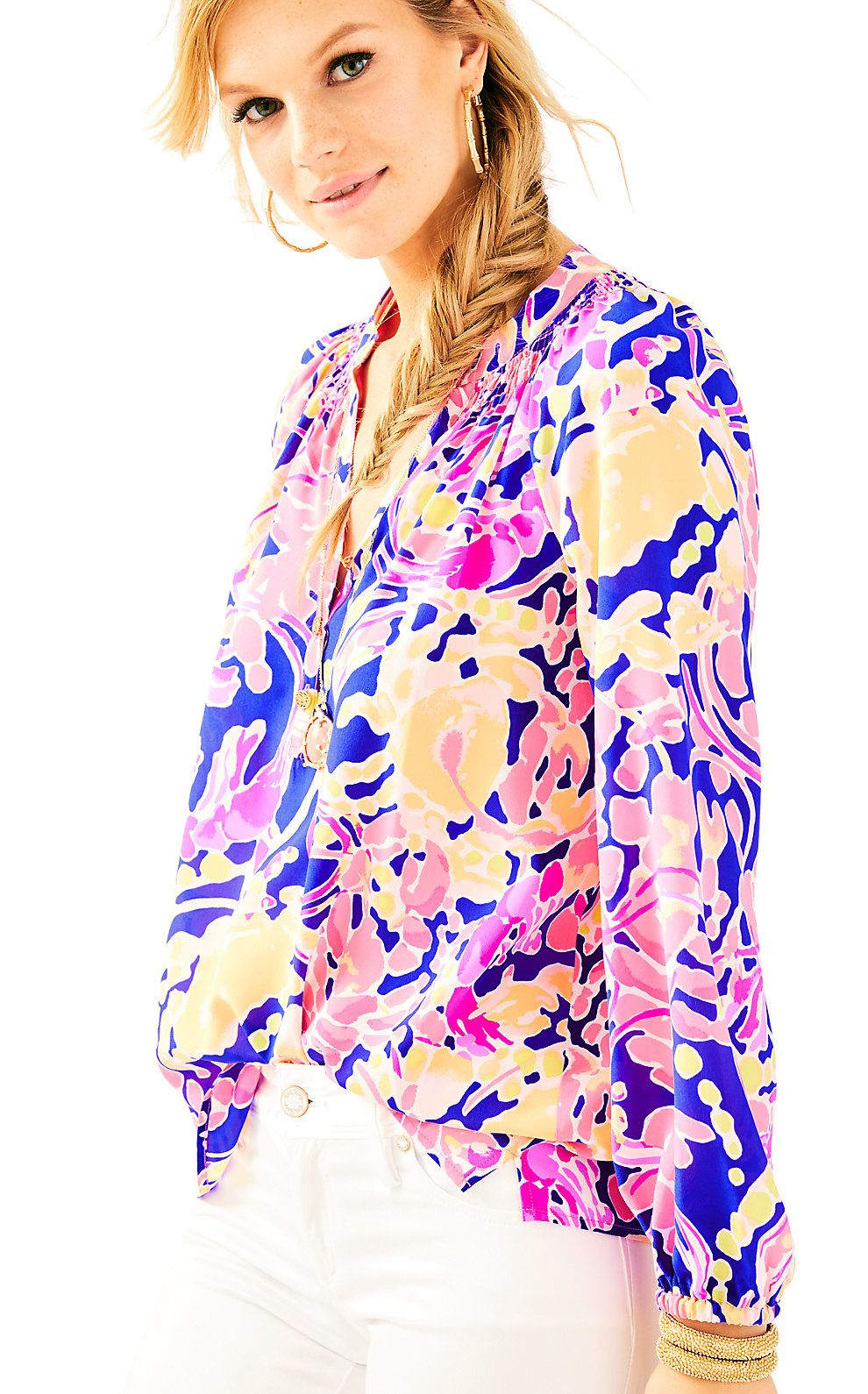 87589f7746080 Lilly Pulitzer Womens Elsa Silk Top - Catch And Release