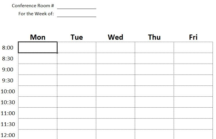 Professional Conference Room Schedule Template Excel