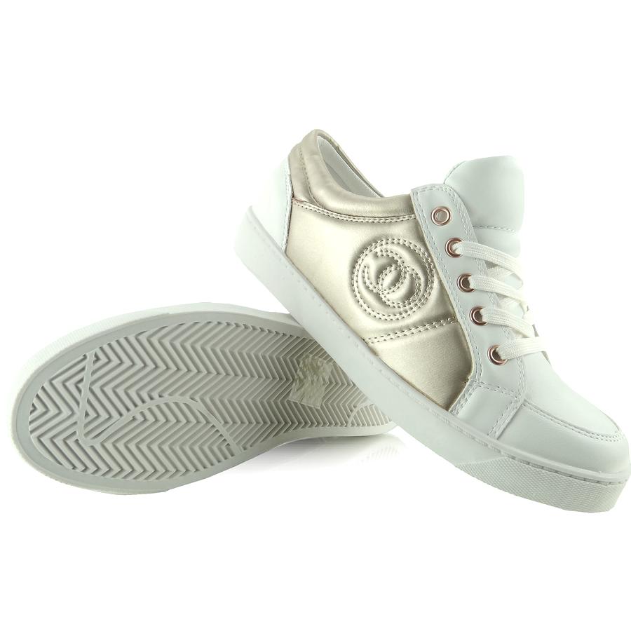 Trampki Chanelki Y612 41 White Bialo Zlote Biale Zolte Shoes Sneakers Golden Goose Sneaker