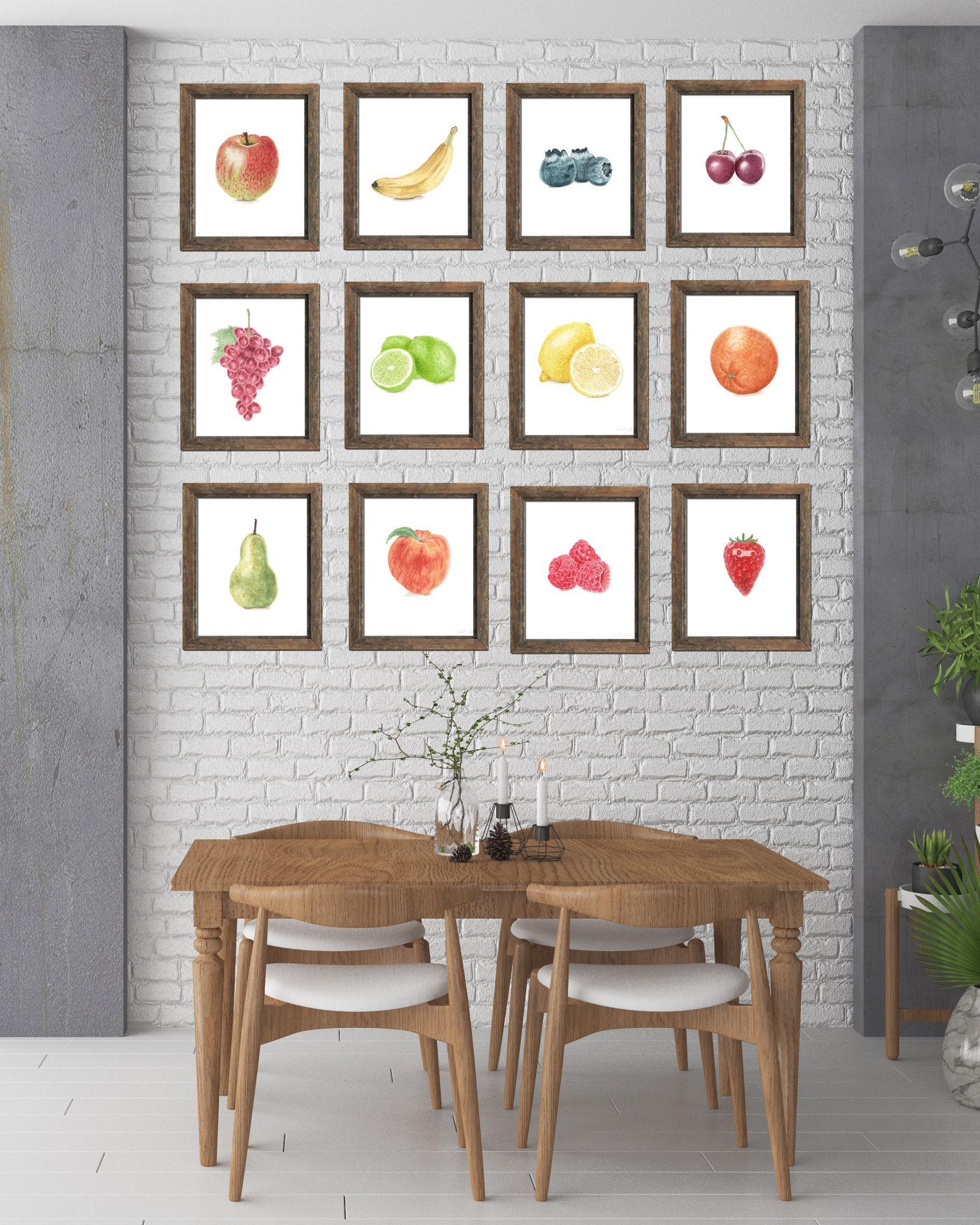 Watercolor fruit collection, fruit print set, watercolor fruit art ...