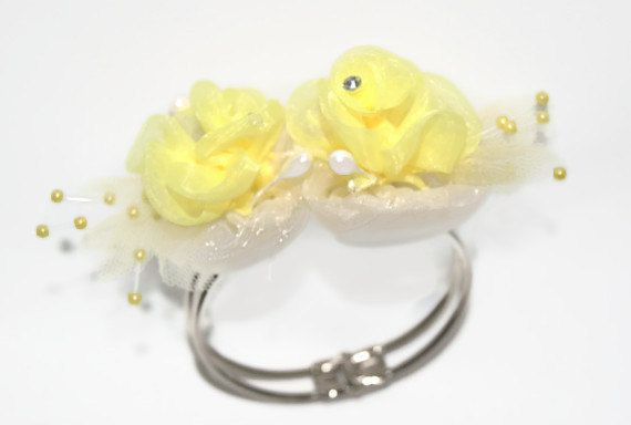 Yellow+Flower+Wedding+Bracelet++Maid+of+by+AVCustomdesignsandmo,+$8.00