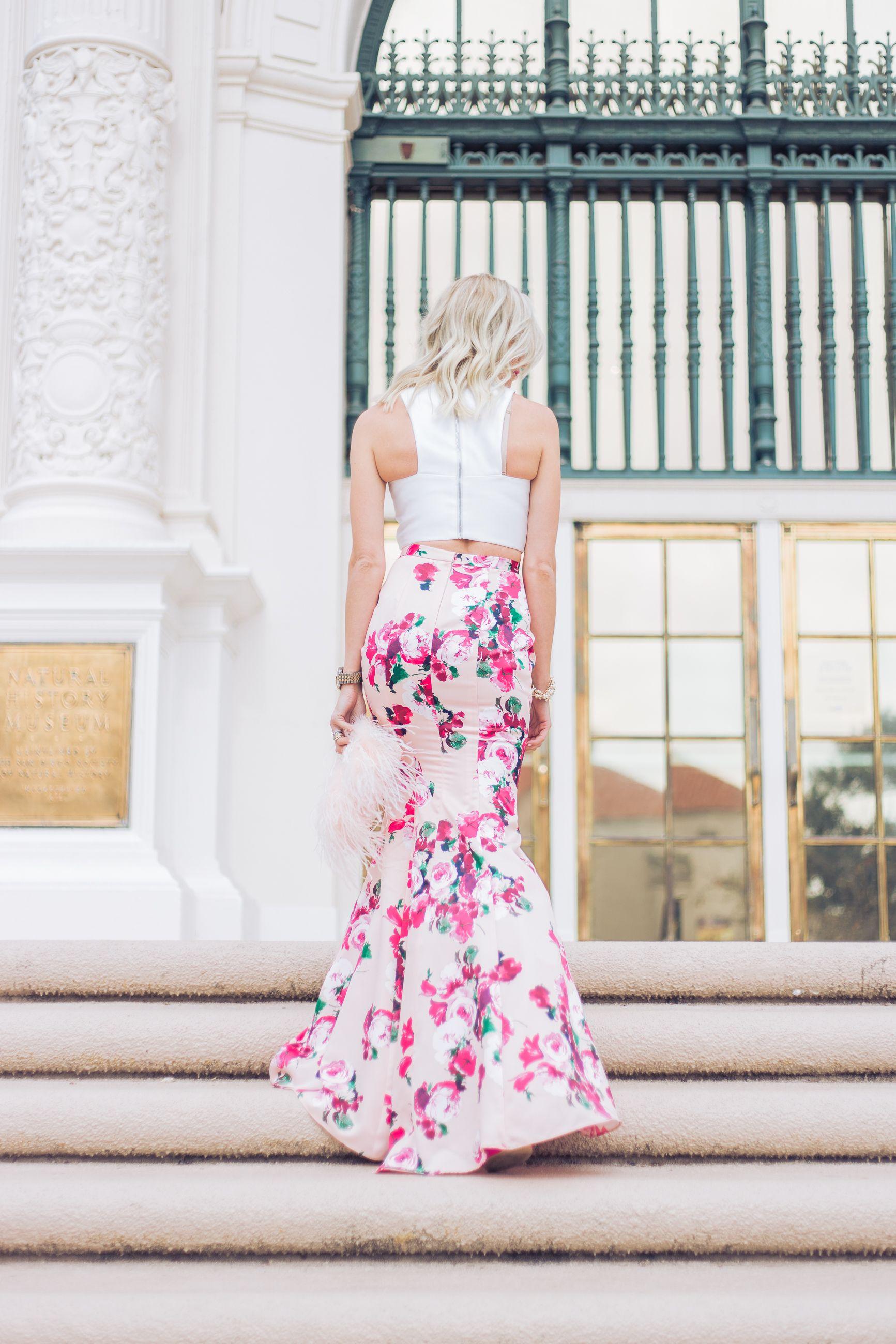 Two piece wedding guest dress  Floral two piece gown  Mckenna Bleu  My Style  McKenna Bleu