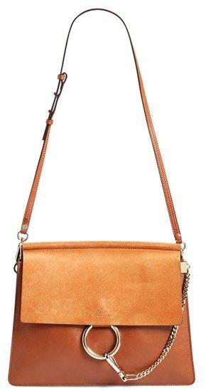 95f8ff1448 Chloe 'Medium Faye' Leather & Suede Shoulder Bag - Brown | Shopping ...