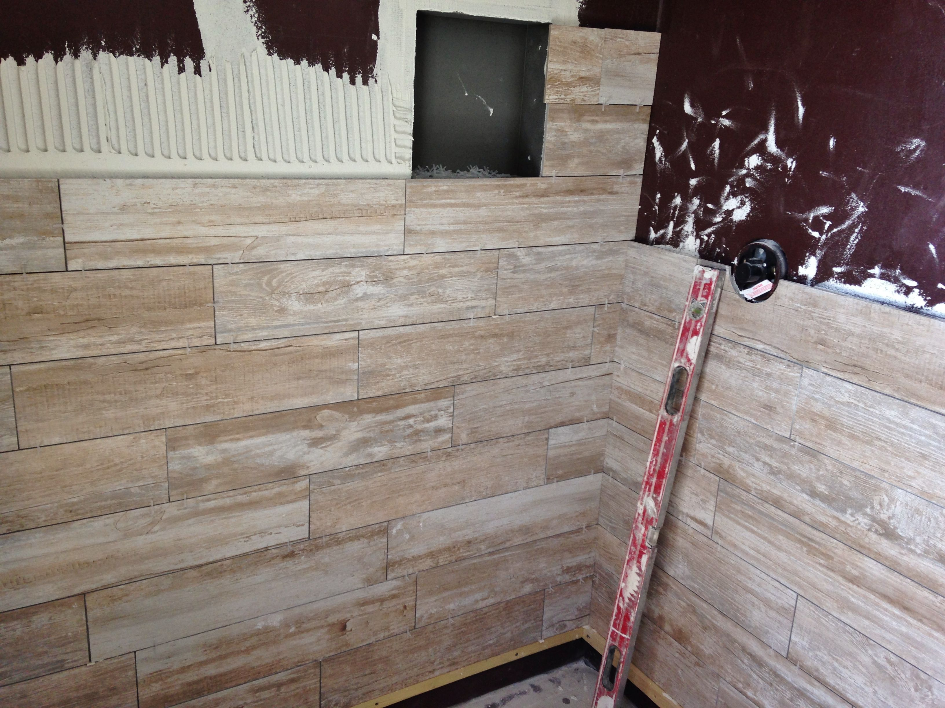 in progress 6x24 porcelain wood plank tile on shower walls tile jobs we 39 ve done charleston. Black Bedroom Furniture Sets. Home Design Ideas