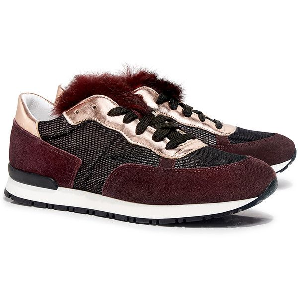 a754d2eb53 Pollini - Mesh-paneled Metallic and Fur Suede Sneakers (€275) ❤ liked on  Polyvore featuring shoes, sneakers, pollini shoes, suede trainers, pollini,  ...