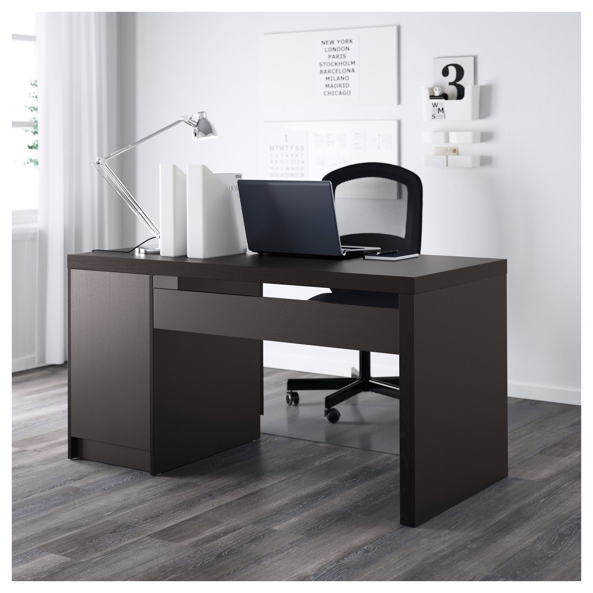99 Malm Desk Black brown Custom Home