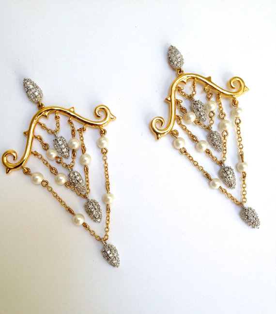 White Pearl and Pave Gold Chandelier Earrings Micropave Droplet ...