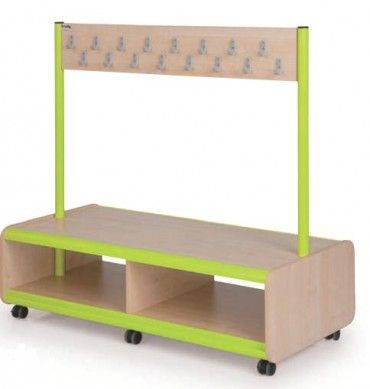 Mobile Double Sided Bench 32 Hooks Backpack Storage Backpack Storage Classroom Storage