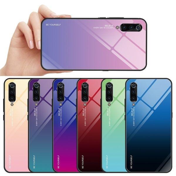 Gradient Tempered Glass Mirror Phone Case for Xiaomi Mi 9 Mi 8 lite Mi a2 Cover for Xiaomi Redmi Note 6 Pro Note 5 Redmi 6 Note 7 4K