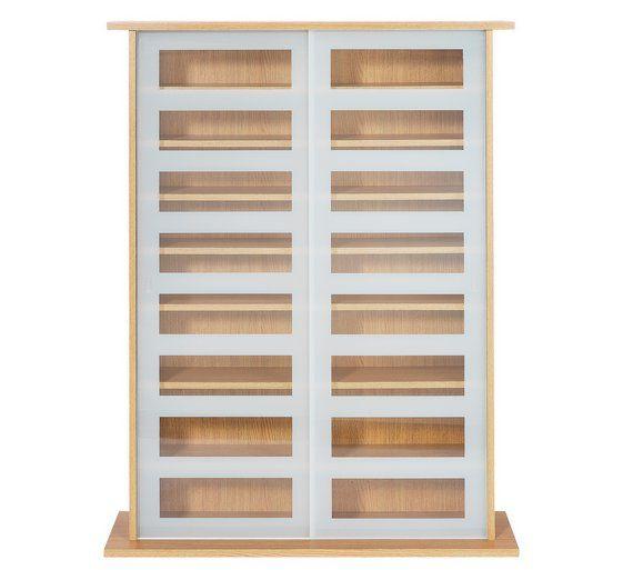 buy argos home york sliding door glass media unit oak effect cd rh pinterest com