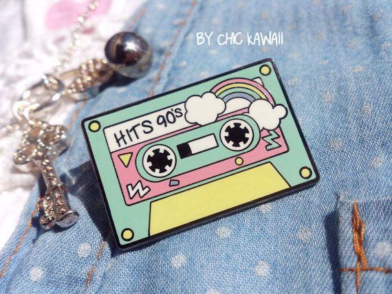 Enamel pin music cassette 90 candy party kawaii cake pins