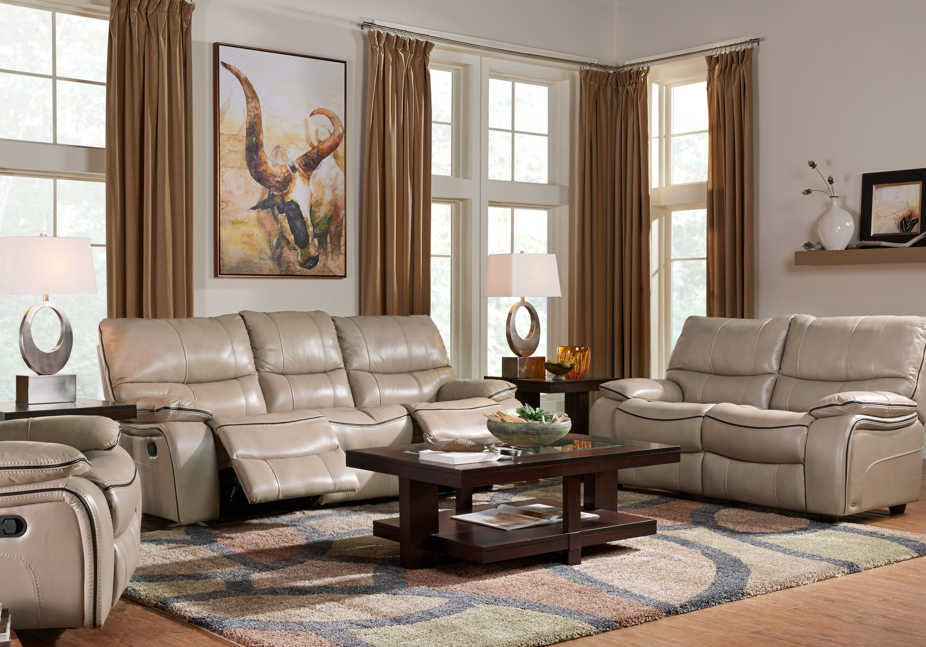 cindy crawford home gianna mushroom leather 2 pc living room with rh pinterest com