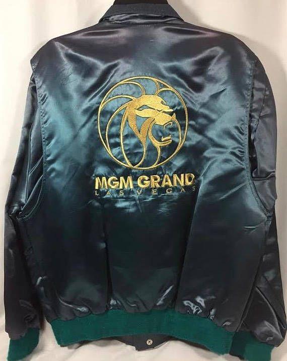 3116d691f MGM Grand Las Vegas Satin Bomber Jacket Mens L | Men's fashion ...