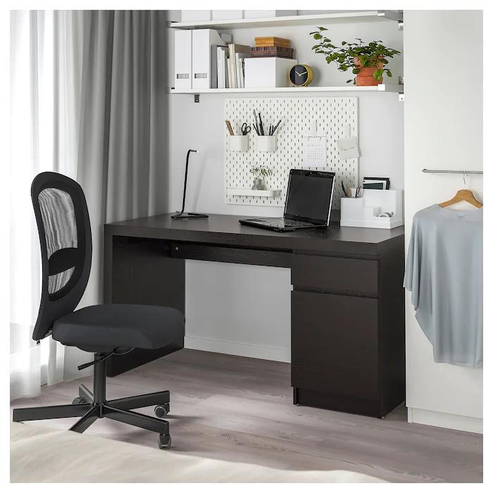 MALM Desk, black brown, 55 18x25 58
