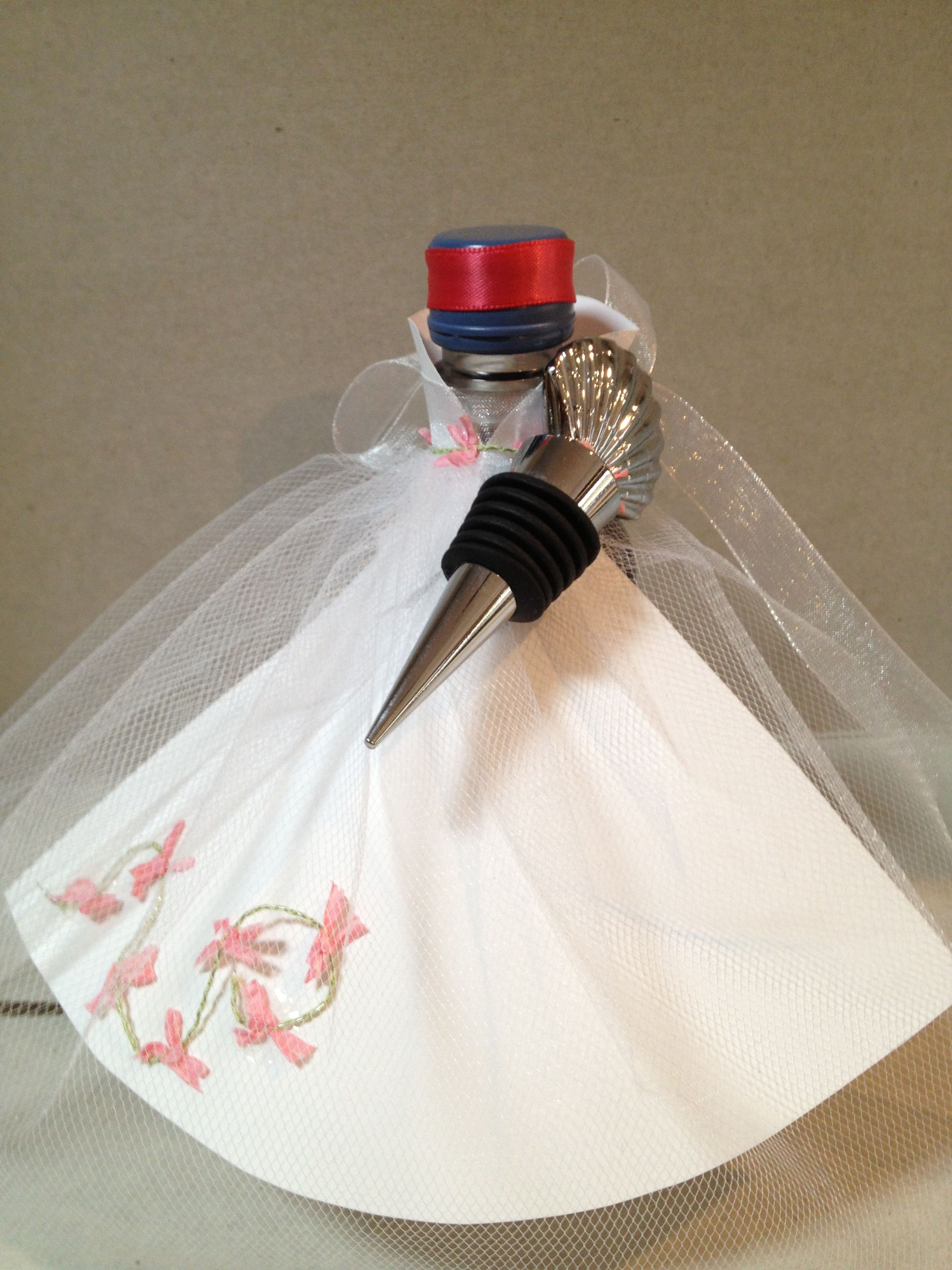 Wedding shower favor made with small wine