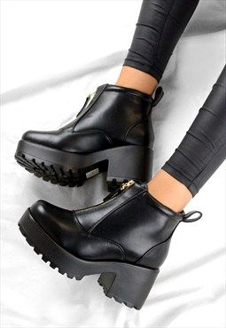 Womens Ladies Block High Heel Platform Ankle Boots Hiking Lace Up Chunky Stud