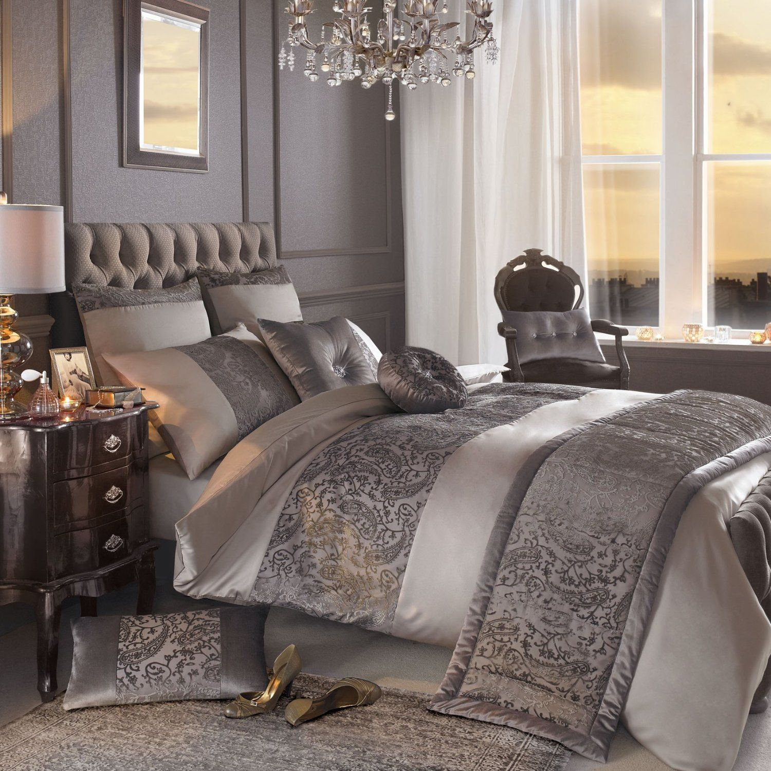 Bedding jardin collection bedding collections bed amp bath macy s - Kylie Minogue Stella Luxury Satin Designer Bedding Duvet Quilt Cover Truffle Grey Silver