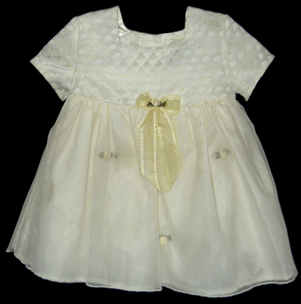 Infant easter dress sz month youngland offwhite gold sparkle