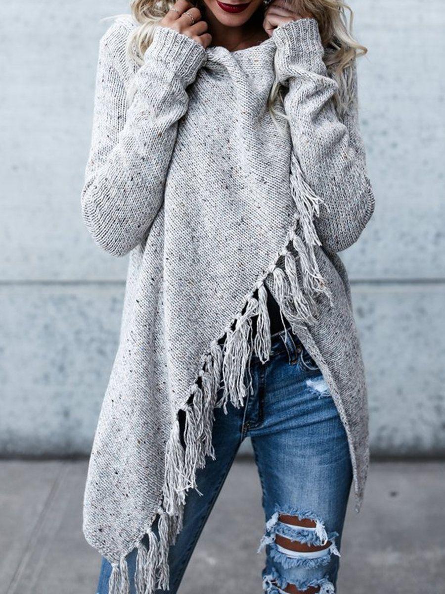 Women Cowl Neck Tassel Casual Cardigans Knitted Irregular Coat Top Autumn Winter